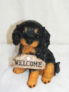 New King Charles Spaniel Dog Puppy Welcome Sign Decoration Statue