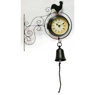 New 2 Sided Wrought Iron Rooster Kitchen Wall Clock