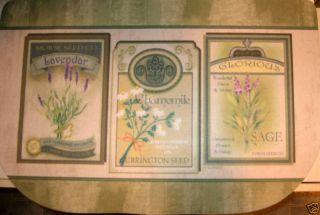 Chamomile Lavender Sage Seeds Green Kitchen Mat Slice Rug