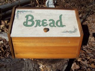 Vintage Country Kitchen Wood Bread Box Flowers Wooden