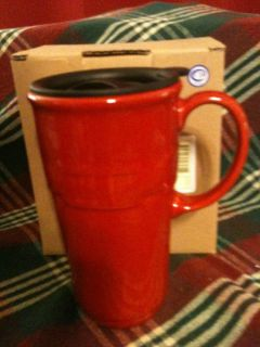 Longaberger Woven Traditions Pottery Tomato Red Travel Mug New in Box