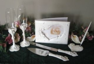 White Heart Calla Lily Guest Book Pen Toasting Glasses Cake Server