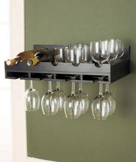 New Black Finish Wall Wine Rack Home Kitchen Decor