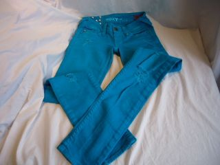 Junior Roxy Turquoise Super Skinny Fit Jeans Size 0