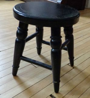 Vintage Victorian Wooden Farm Kitchen Stool With Black Paint Great Old