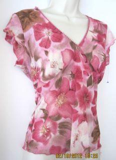 Fuschia Pretty Pink Brown Floral Poly Knit Top Blouse Shirt Sz L