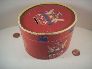 1950s Vintage Miniature Paper Knox Hat Box Coin Piggy Bank