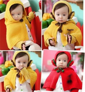 Winter Warm Toddler Child Baby Knit Cloak Shawl Earmuffs Scarf Hat