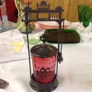 Antique Victorian Cranberry Pickle Castor With Tongs Signed New