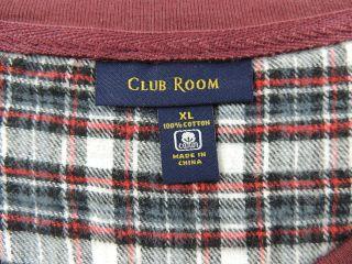 MS192 Club Room Mens Sleepwear Knit Top Flannel Pants Pajama Set Reds