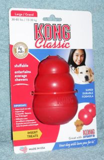 Classic Red Kong Dog Chew Toy Large LG T1 Fast SHIP