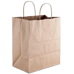 Natural Kraft Paper Shopping Bag with Handles 10 x 7 x 12 250