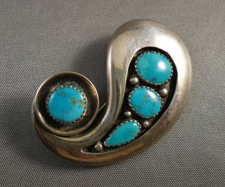 Wonderful Frank Patania SR Silver Turquoise Pin Brooch Vintage