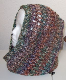 HAND CROCHETED INFINITY ETERNITY SCARF PAINTED DESERT LION HOMESPUN