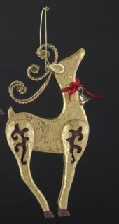 Kurt Adler New 6 Wooden Gold Standing Deer Ornament with Bell J5915S