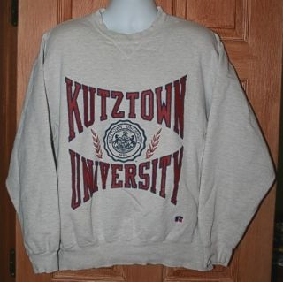 VINTAGE KUTZTOWN UNIVERSITY L SWEATSHIRT PRO COTTON RUSSELL ATHLETIC