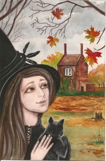 5x7 Halloween Print of Painting RYTA Witch Black Cat Folk Art Barn