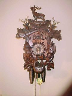 Huge German Cuckoo Clock Black Forest Hunters Cabin Deer Elk Rabbit