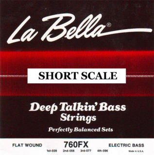 La Bella 760FX s Short 30 5 Scale Flat Wound 4 Bass Strings Flatwound