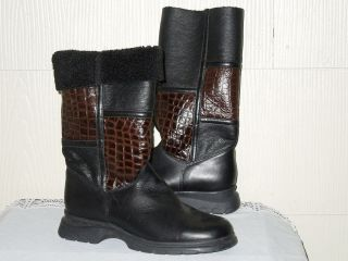 La Canadienne Black Leather Shearling Boot Brown Patent Crocodile 10