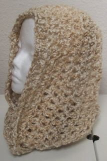 Hand Crocheted Infinity Eternity Scarf Pearls Lion Homespun Yarn
