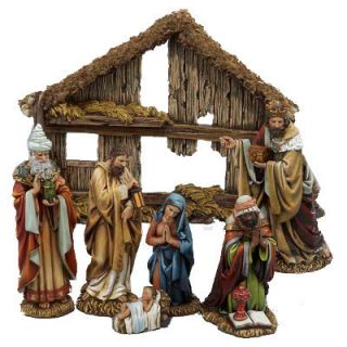 Kurt Adler 7 Piece 6 inch Resin Nativity Christmas with Stable