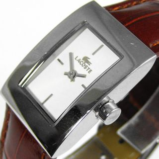 Lacoste Ladies Analog Rectangular Watch 2000003 Brown Leather Band