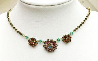 New Liz Palacios Swarovski Crystal Antique Brass Sunny Flower Neckace
