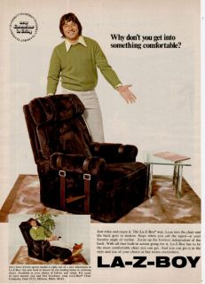 1972 La Z Boy Recliner Football Joe Namath Print Ad
