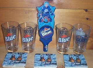 LABATT BLUE NHL HOCKEY TAP HANDLE KEG MARKER 4 BEER PINT GLASSES