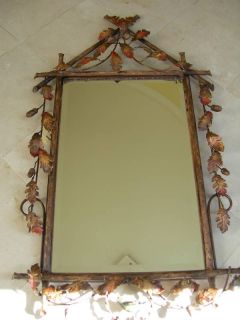 Maitland Smith Labarge Forged Iron Oak Leaf Wall Mirror