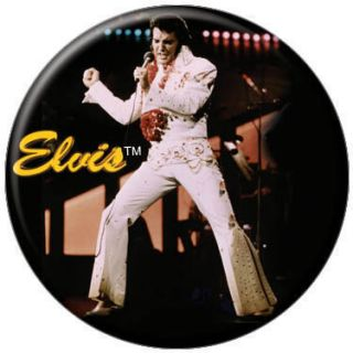 Elvis Presley White Jumpsuit Yellow Logo Button 81105