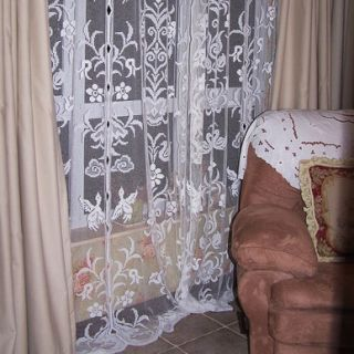 Delicate Embroidery All Lace White Long Curtain Panel