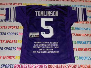 LADAINIAN TOMLINSON auto signed TCU Horned Frogs STAT Jersey TOMLINSON