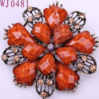 Flower Brown Chic gemstone Alloy Elegant Ladies Pins Brooch WJ0481