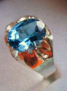 2ct Detailed Blue Topaz Oval Top Cut Sterling Silver Mens Ring