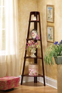 Wooden Display Ladder Stand Corner Floor Shelf Cherry Finish