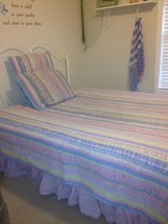Pottery Barn Kids PB Kids floral gingham queen quilt sheets duvet
