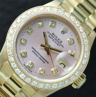 Ladies Rolex 18K Solid Gold DateJust Diamond President Watch Original