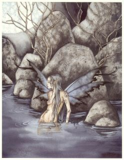 Amy Brown Print Fairy Mari Morgan Black Wings Lady Lake