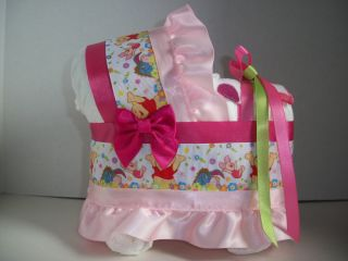 WINNIE THE POOH GIRL DIAPER BASSINET BABY SHOWER CENTERPIECE TABLE