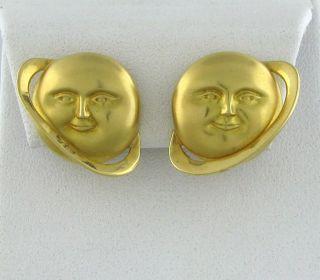 Designer Signed 18K Yellow Gold Planet Earrings