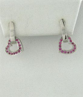 Asprey 18K White Gold Pink Sapphire Heart Drop Earrings $2400