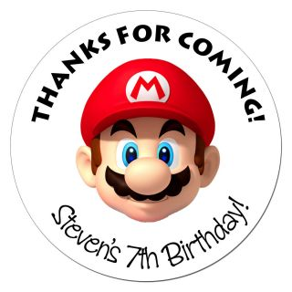 24 Super Mario Birthday Sticker Gift Favor Party Label