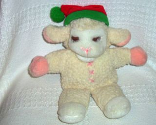 Shari Lewis Plush Xmas Lamb Chop Full Hand Puppet Stuffed Toy