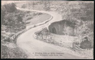 Mountain Lake Park MD State Highway Vtg MT Postcard Early Old Maryland