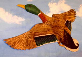 Mallard Duck Relief Chainsaw Carving 27x 27 Decoy by Ramer Wall Art