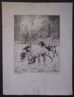1932 Percival Rosseau Cooling Off Signed Etching Sporting Dogs