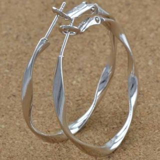 Unique 9K White Gold Filled Ladies Hoop Earrings