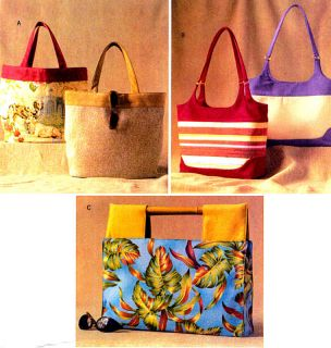 OOP Ladies Totes Handbags Purses 3 Sizes Sewing Pattern Butterick 3799